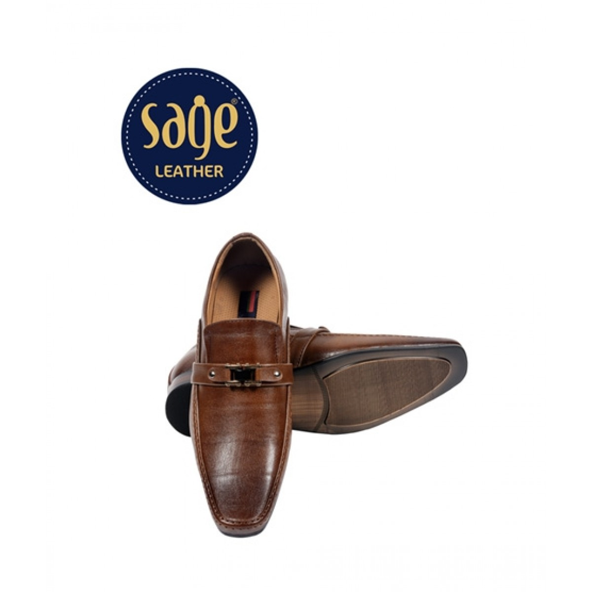 Sage Leather Formal Slip On Shoes For Men Brown (5739)