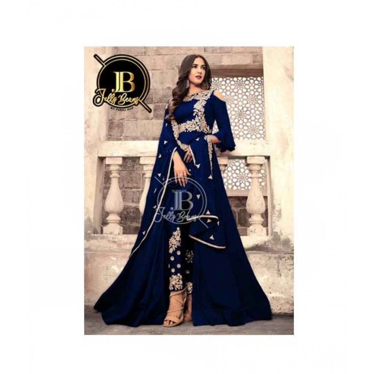 Sale Out Embroidered Suit For Women 2 Piece Blue