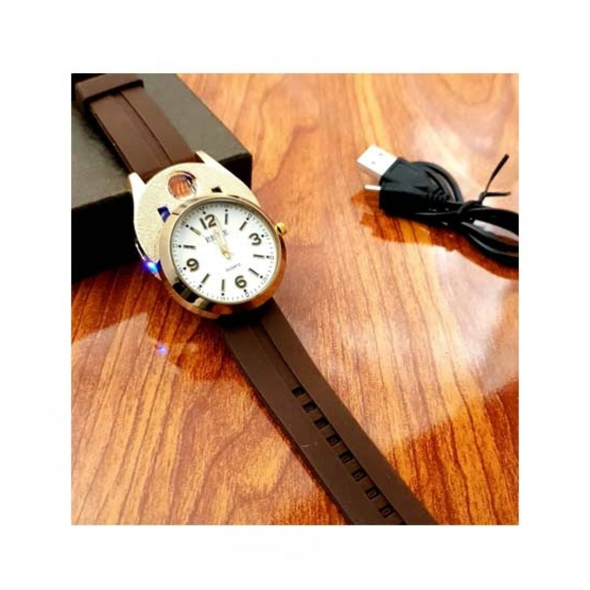 Sale Out Men's Watch with Rechargeable Lighter Brown