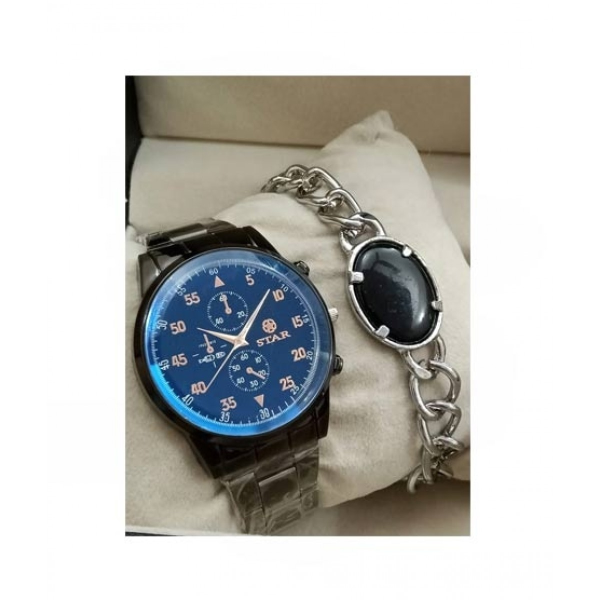 Sale Out Stainless Steel Watch & Bracelet For Men