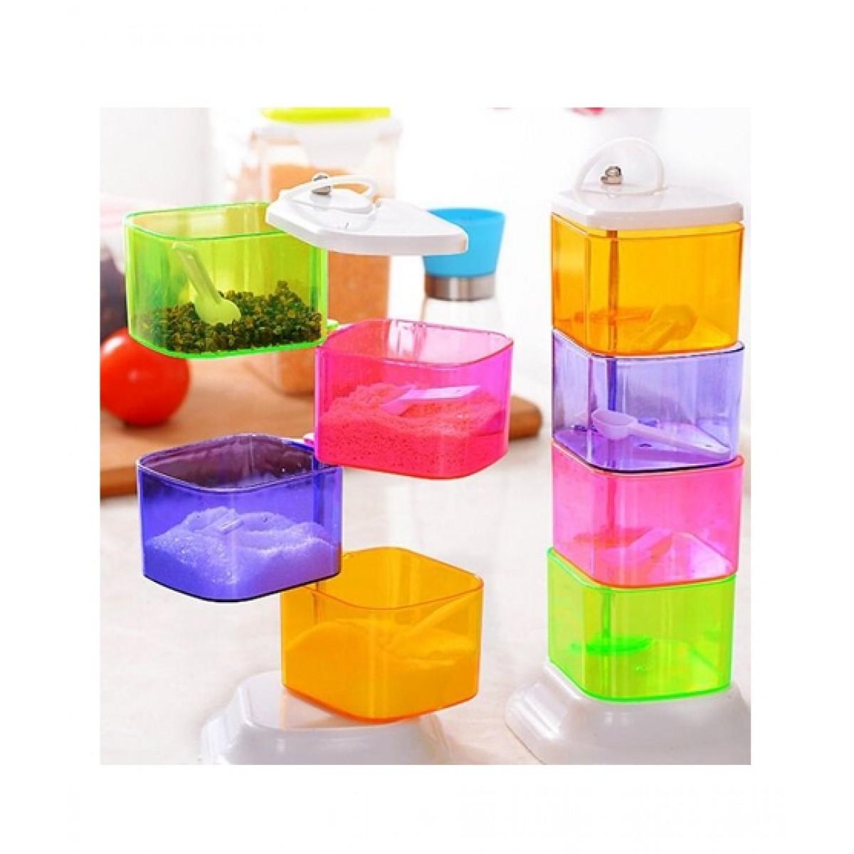 ShopInk Vertical Seasoning Box 360 Degrees Rotary Spice Bottle Castor Jar