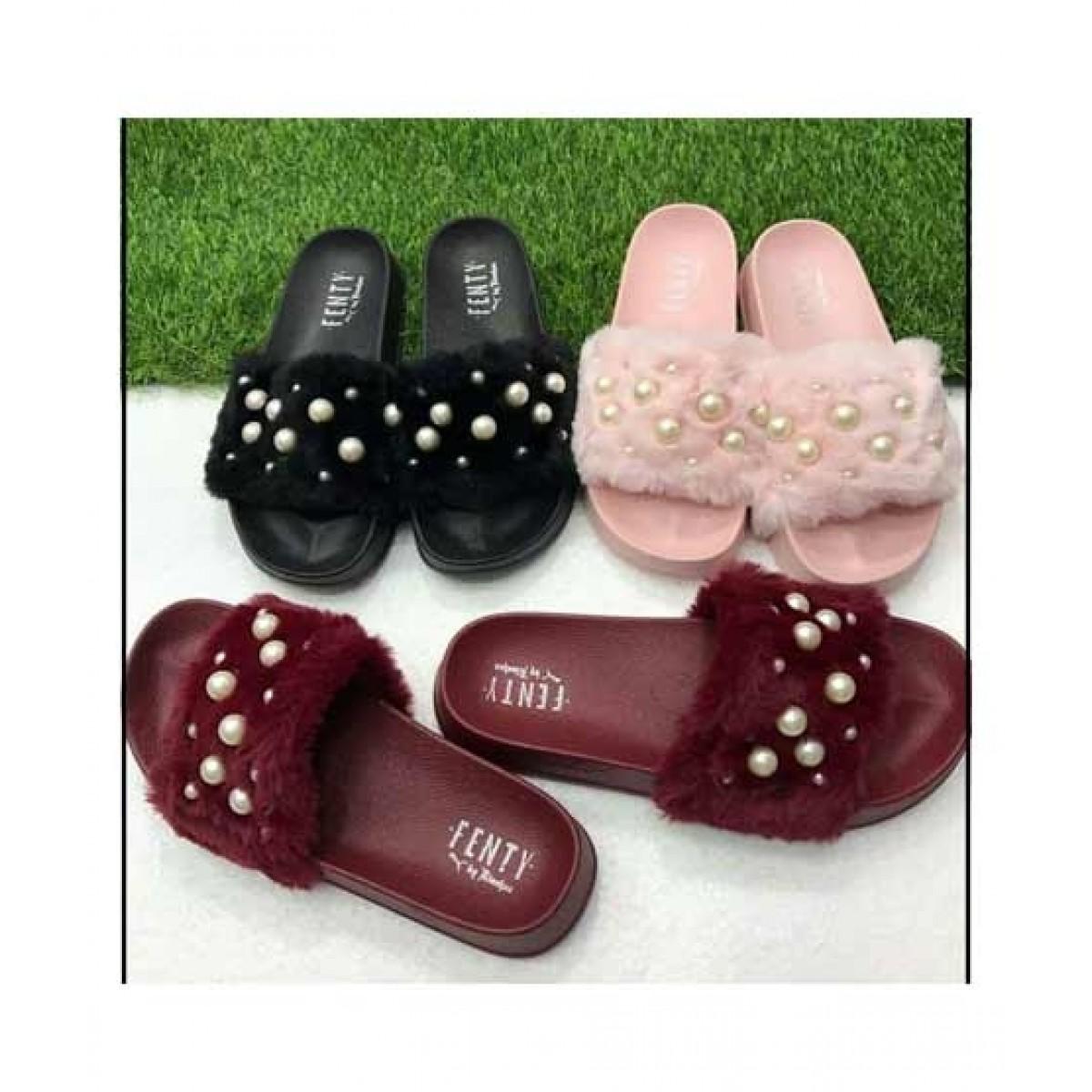 Shoppinggaardi Pearl Fur slides Slippers For Women (SG-FN1)