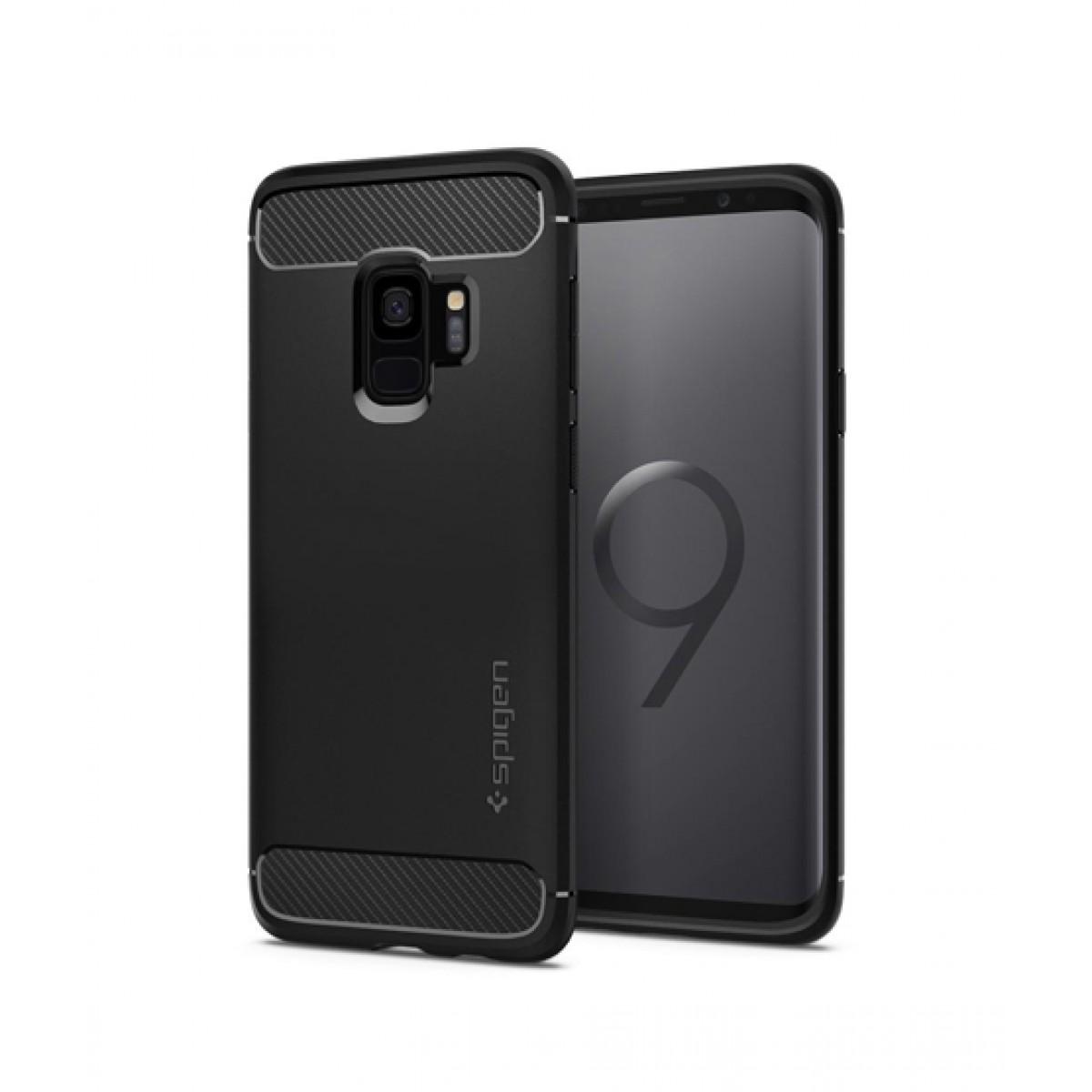 big sale 8c587 81517 Spigen Rugged Armor Black Case For Galaxy S9