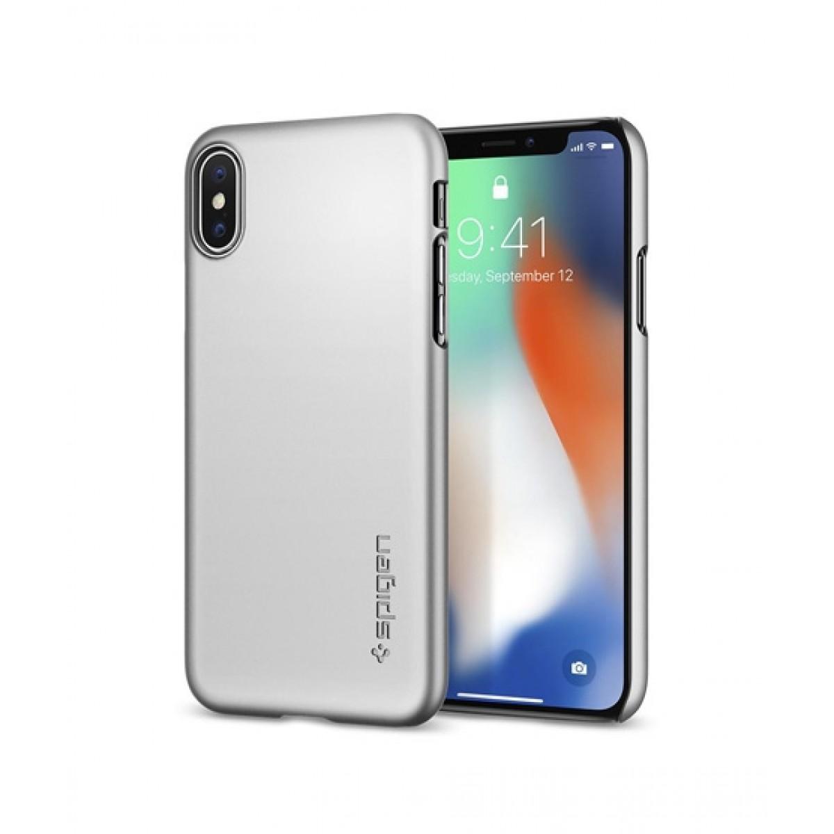 hot sale online 43a37 0d6a9 Spigen Thin Fit Satin Silver Case For iPhone X/XS