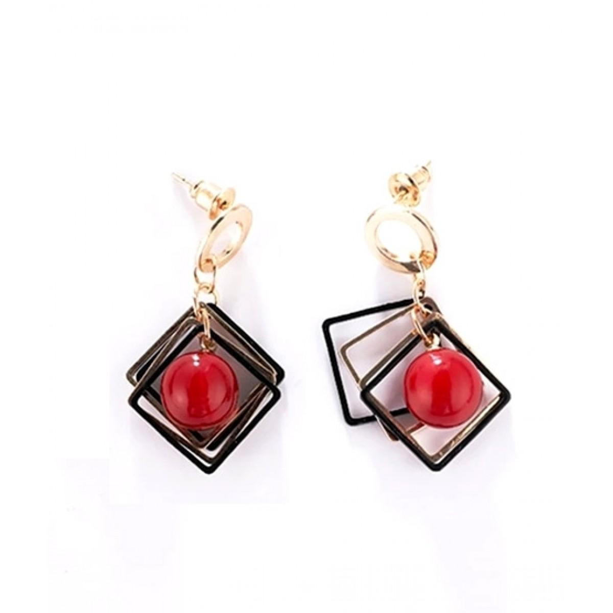 SS Mart Square Metal Frames Red Bead Earrings For Women