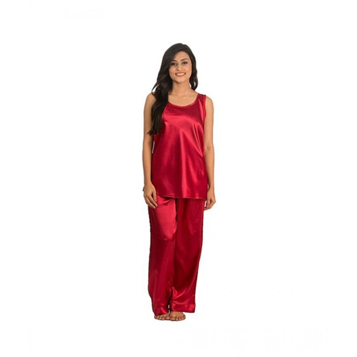 ae542d2948b Stylesonline Sleeveless Silk Nighty For Women - Red