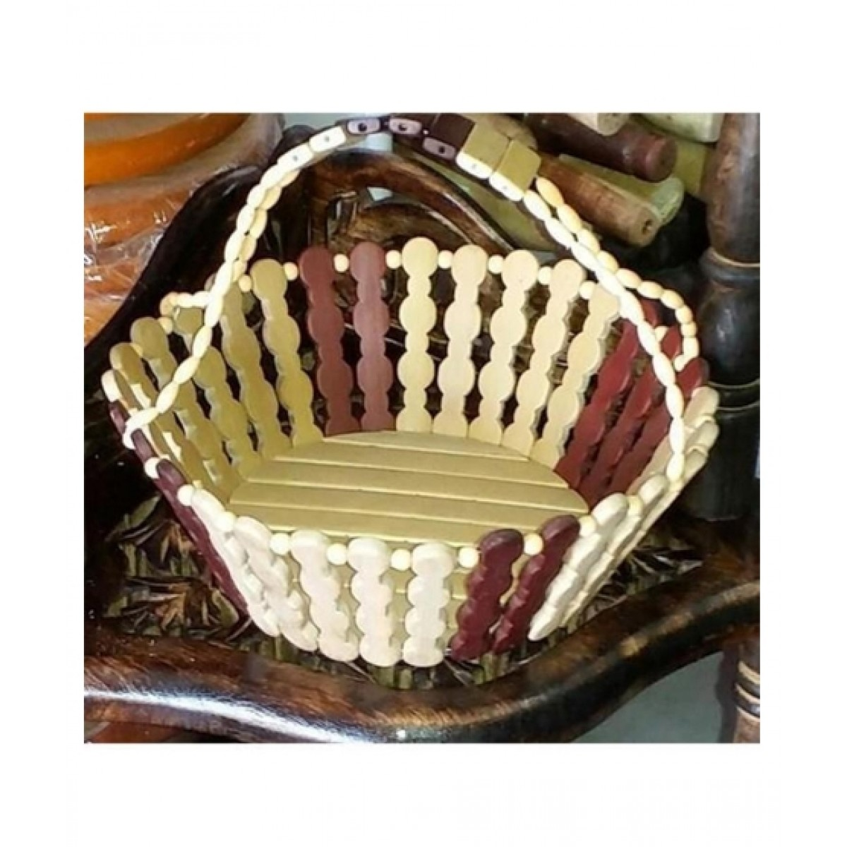 Subkuch Stylish Wooden Basket Brown And White (1134)