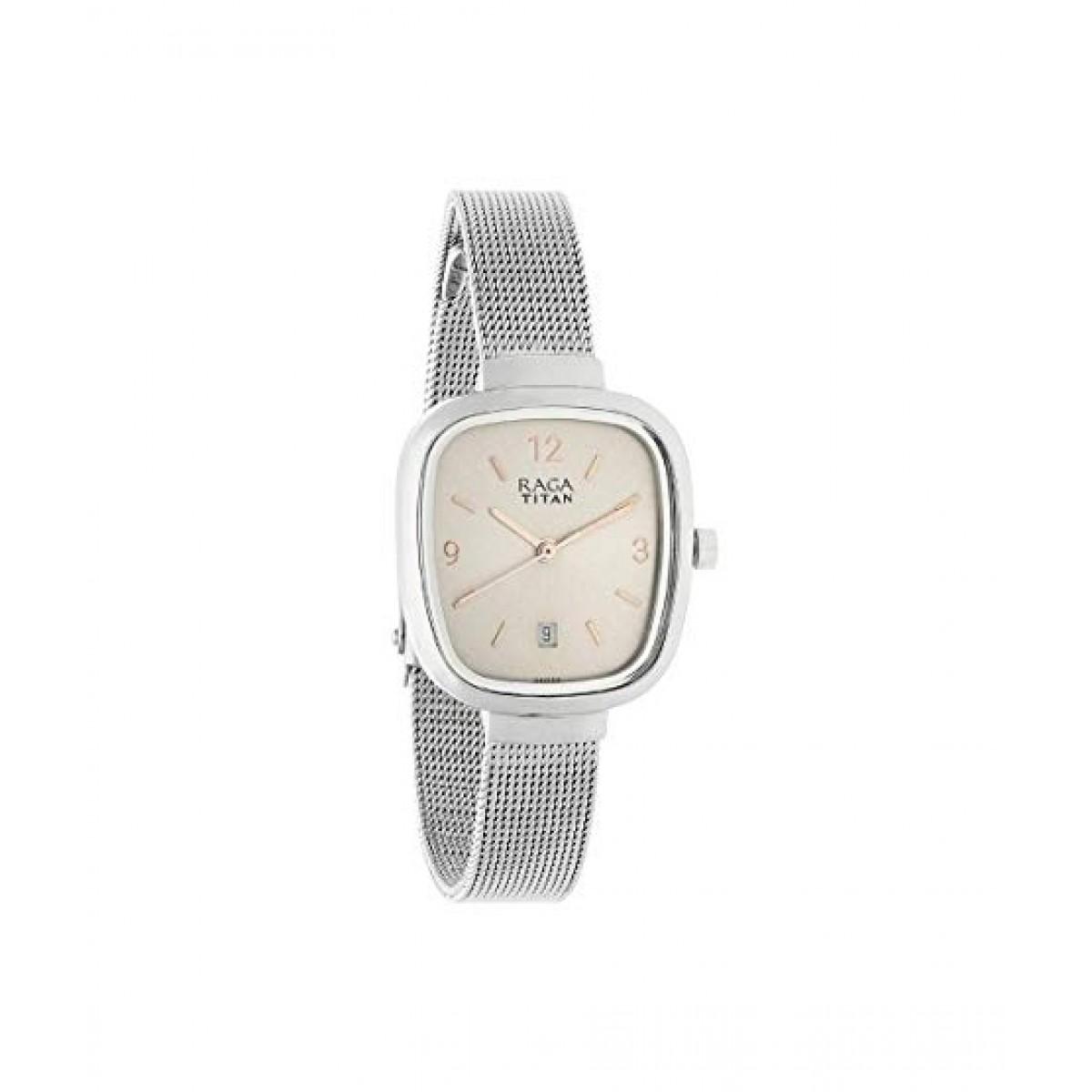 Titan Analog Women's Watch Silver (2610SM01)