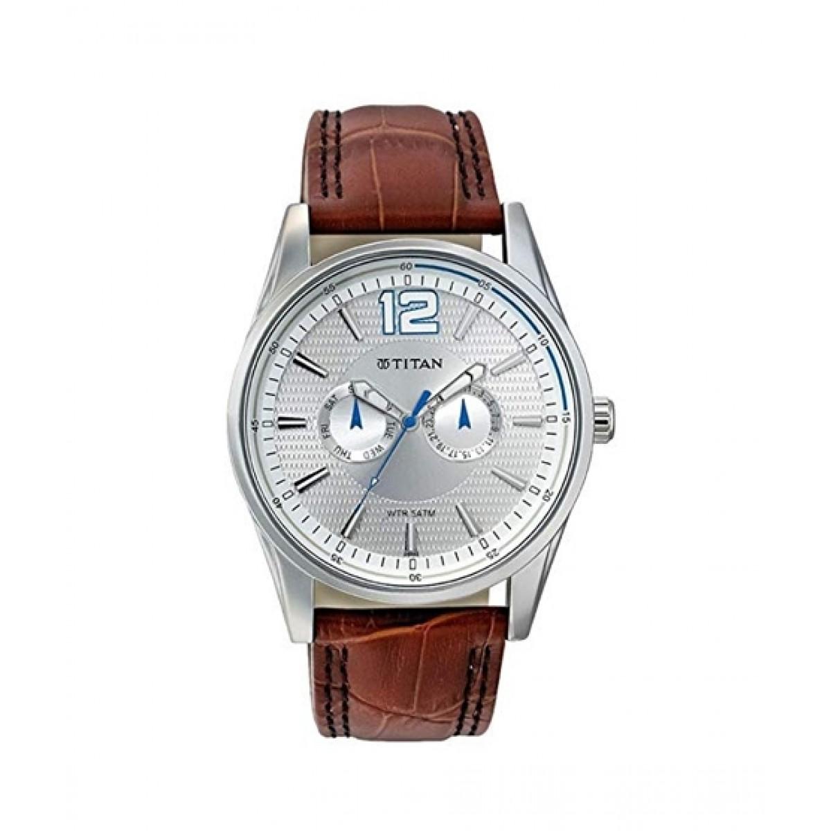 Titan Analogue Unisex Watch Brown (9322SL05)