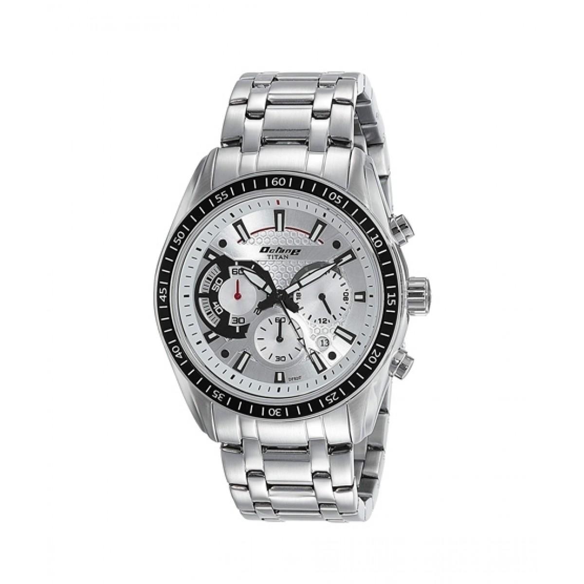 Titan Chronograph Men's Watch Silver (90077KM01)