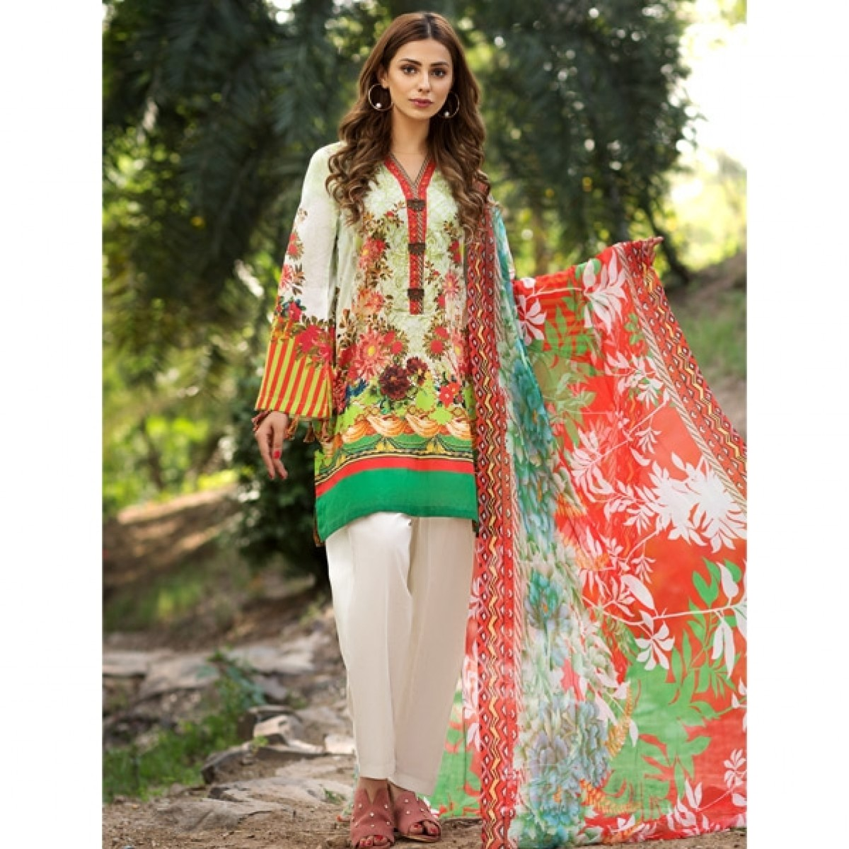 Limelight Oriental Delight Unstitched Lawn Shirt For Women (U0307-2PC-MNT)