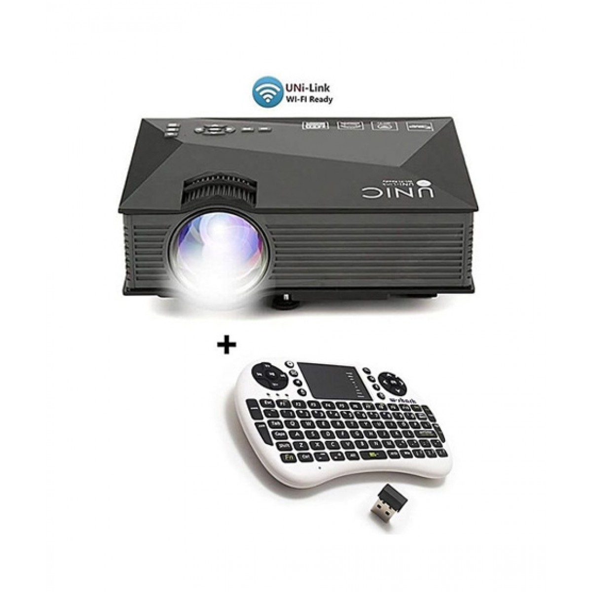 UNIC Mini WiFi LED Projector With Wireless Keyboard Black (UC46)