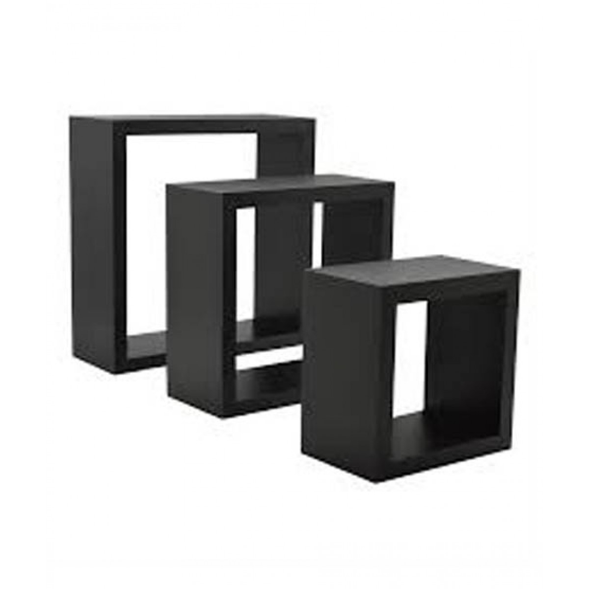 Wood World Cubical Shelf Black - Pack Of 3