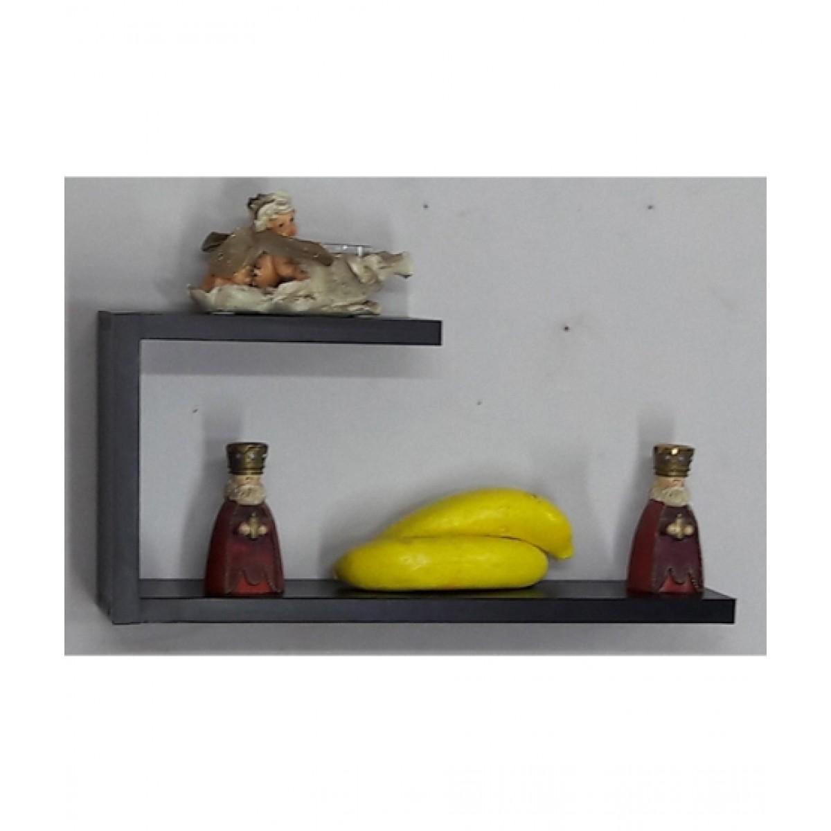 Wood World Hook Style Shelf Black