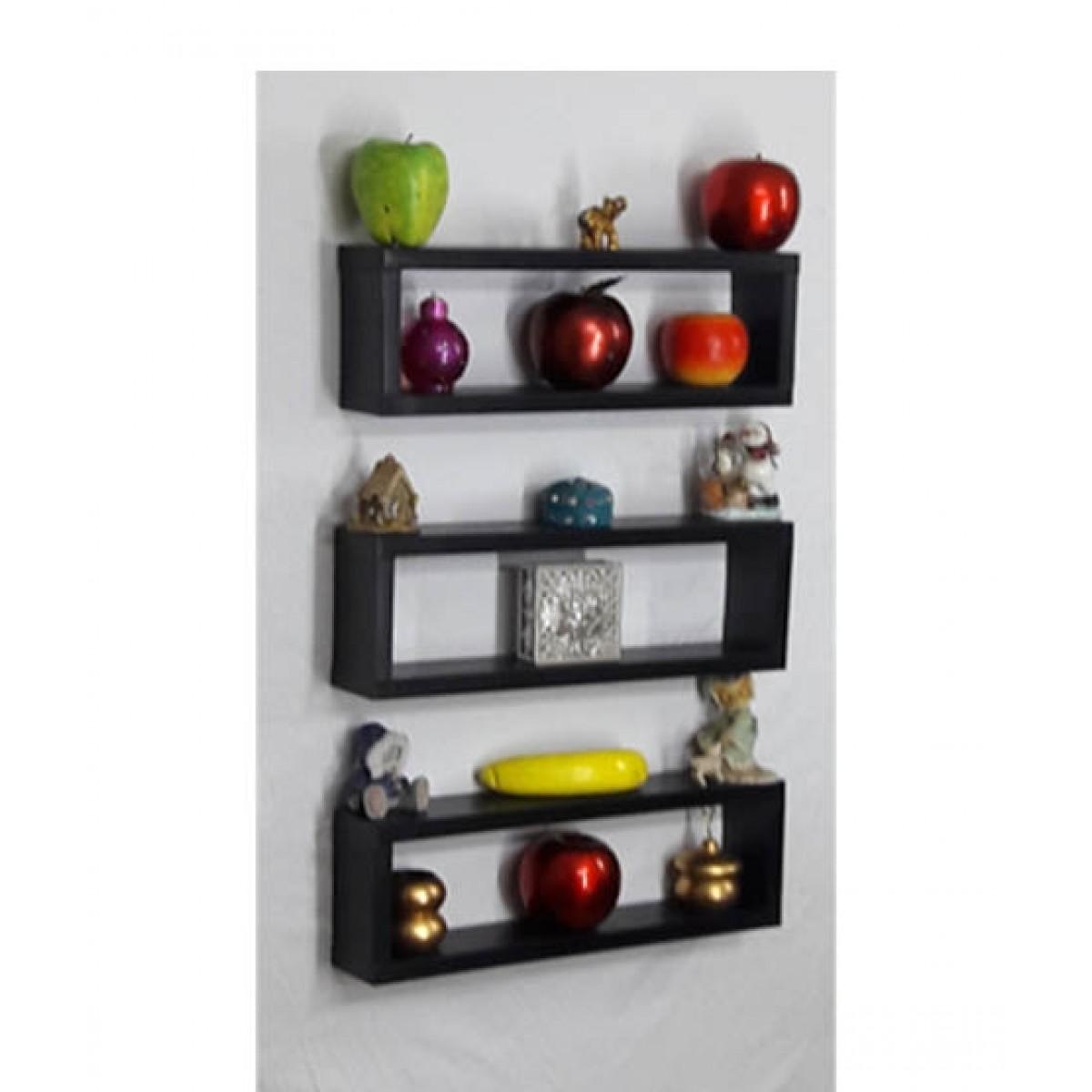 Wood World Wall Hanging Shelf Black - Pack Of 3