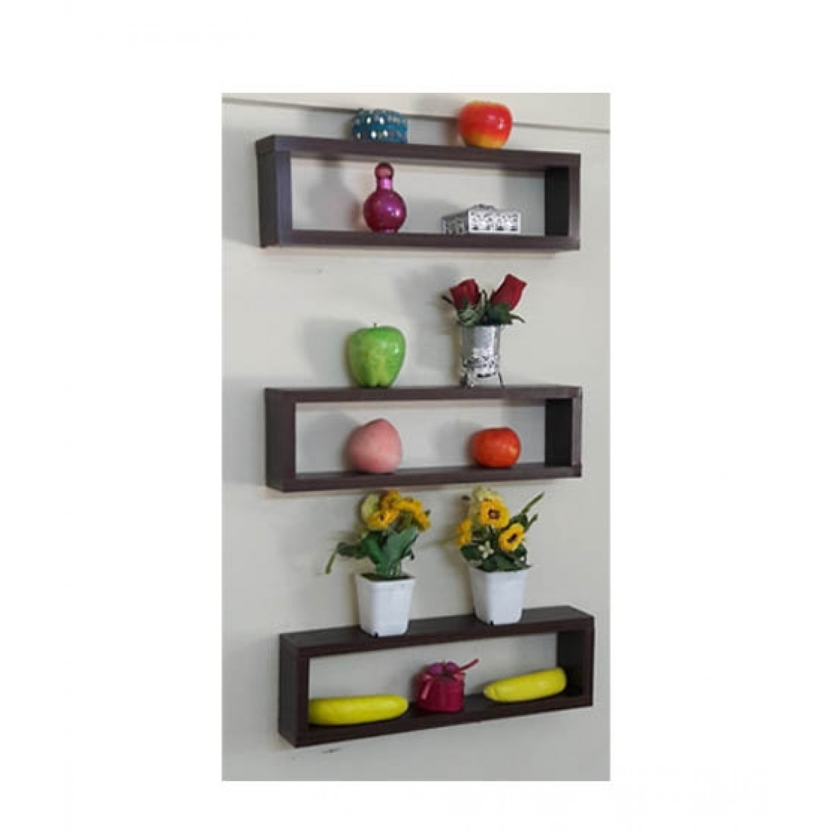 Wood World Wall Hanging Shelf Dark Brown - Pack Of 3