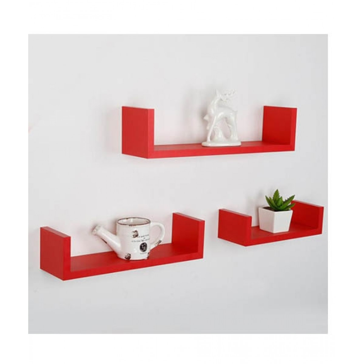 Wood World Wall Hanging U Shelf Red