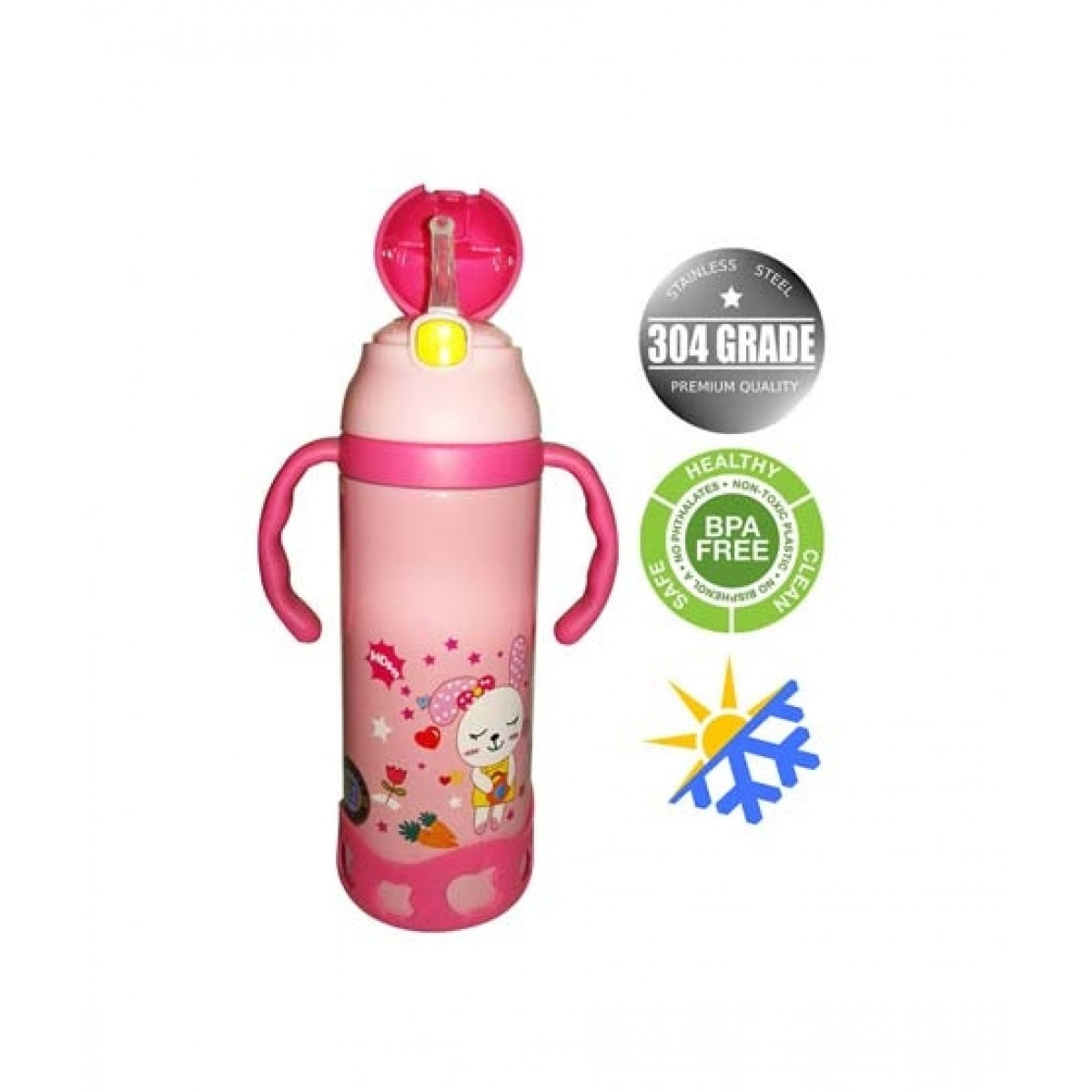 World of Promotion Stainless Steel Cartoon Water Bottle Pink (500ML)