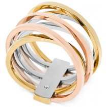 Michel Kors Tri Tone Crisscross Ring