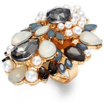 Bar III Gold Tone Gray Stone and Flower Statement Ring