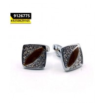 Kayazar Modern Men's Cufflinks Silver Brown Crystal Square (9126775)