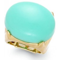 Bar III Gold Tone Mint Oval Stone Stretch Ring