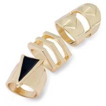 Bar III Gold-Tone Black Geometric Ring Set