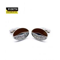 Kayazar Modern Men's Cufflinks Silver Brown Crystals Oval (9126774)
