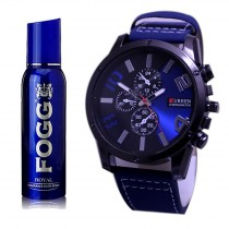 Kureshi Collections Analog Watch And Fogg Royal Body Spray For Men Pack of 2