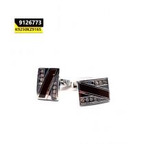 Kayazar Modern Men's Cufflinks Silver Brown Crystals (9126773)