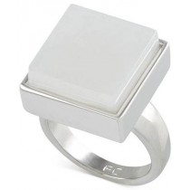 French Connection Silver Tone Large Square Stone Ring