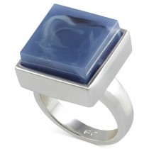 French Connection Silver Tone Large Square Stone Monarch Blue Ring