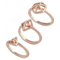 French Connection Gold Tone Mini Geometric Set of 3 Rose Gold Rings