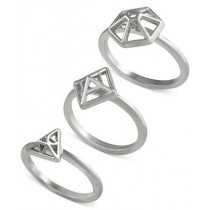 French Connection Gold Tone Mini Geometric Set of 3 Silver Rings