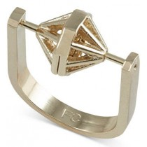 French Connection Gold Tone Spinning Geometric Ring