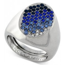Vince Camuto Rhodium Tone Blue Ombre Pave Ring