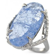 Vince Camuto Silver Tone Blue Glass Crackle Stone Ring