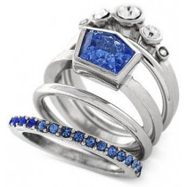 Vince Camuto Rhodium Tone Blue and Clear Crystal Stacked Ring