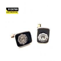 Kayazar Fashion Men's Cufflink Silver Black Flower (9126768)
