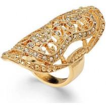 Bar III Gold-Tone Pavé Filigree Ring