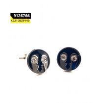 Kayazar Fashion Men's Cufflink Silver Black 2 Stones (9126766)