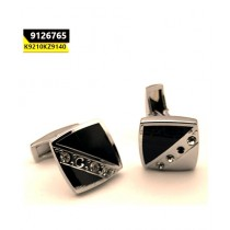 Kayazar Fashion Men's Cufflink Silver Half Black Stones (9126765)