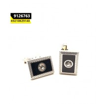 Kayazar Fashion Men's Cufflink Silver Black Rectangle (9126763)