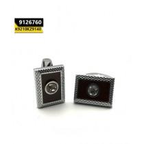 Kayazar Fashion Men's Cufflink Silver Brown Rectangle (9126760)