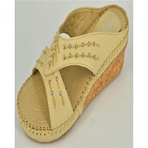 Anee Shoes Rexine And PU Sole Slippers For Women Fawn