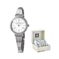 Anne Klein Women's Watch & Bracelets Silver-Tone (AK/3414WTST)