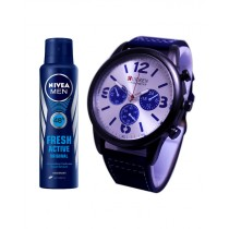Kureshi Collections Analog Watch And Nivea Fresh Active Body Spray For Men Pack of 2