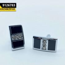 Kayazar Modern Men's Cufflinks Silver Black 3 Stones (9126783)