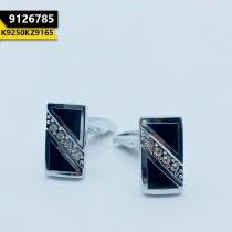 Kayazar Modern Men's Cufflinks Silver Black 4 Stones (9126785)