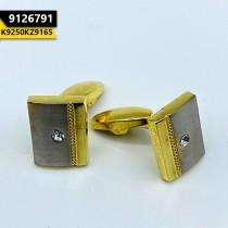 Kayazar Modern Men's Cufflinks Matte Silver Gold Mid Stone (9126791)